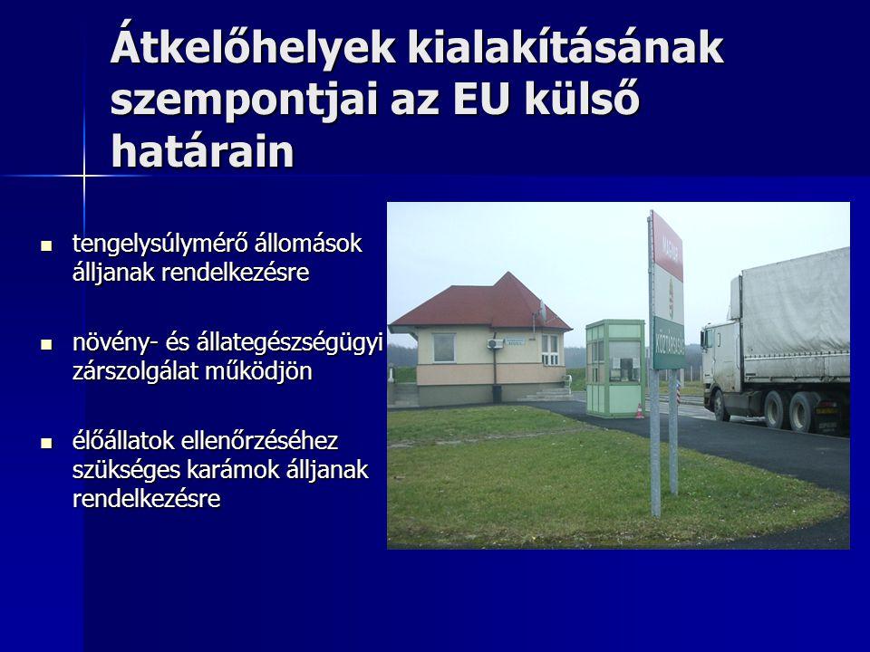 Átkelőhelyek kialakításának szempontjai az EU külső határain tengelysúlymérő állomások álljanak rendelkezésre tengelysúlymérő állomások álljanak rende