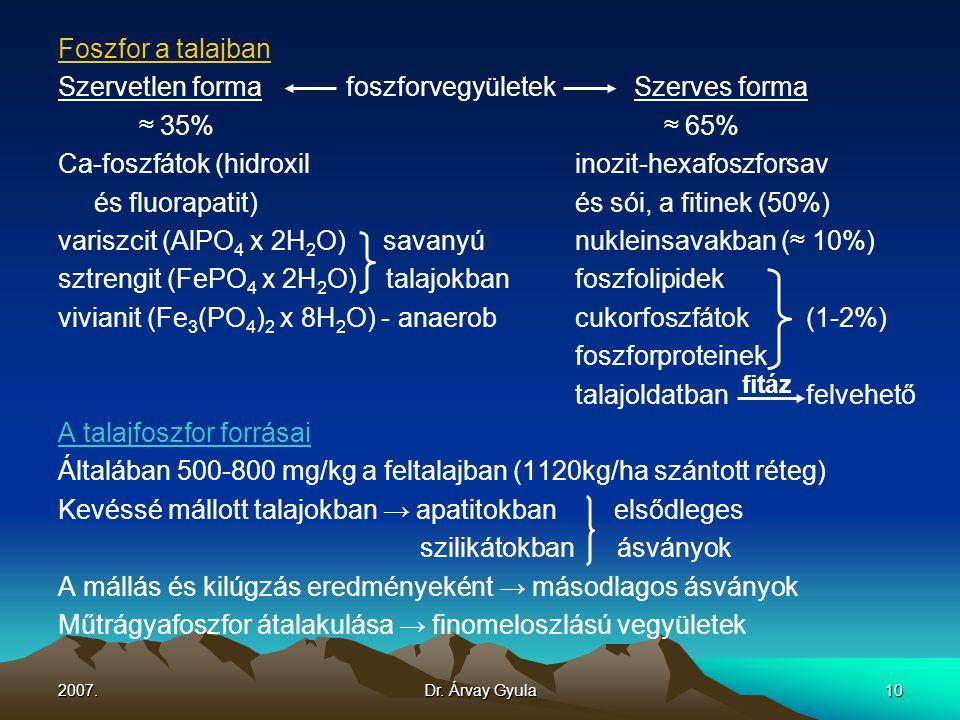 2007.Dr. Árvay Gyula10 Foszfor a talajban Szervetlen formafoszforvegyületekSzerves forma ≈ 35% ≈ 65% Ca-foszfátok (hidroxil inozit-hexafoszforsav és f