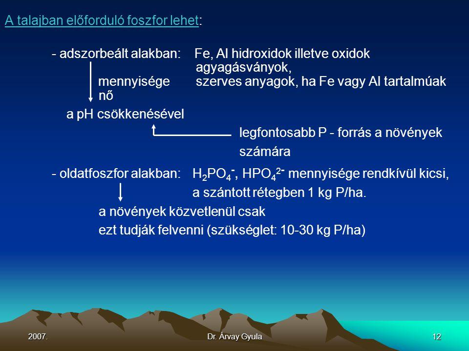 2007.Dr. Árvay Gyula12 A talajban előforduló foszfor lehet: - adszorbeált alakban: Fe, Al hidroxidok illetve oxidok agyagásványok, mennyisége szerves