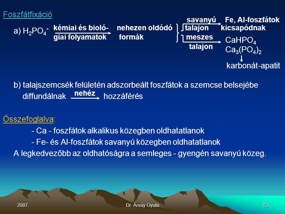 2007.Dr. Árvay Gyula13 Foszfátfixáció savanyú Fe, Al-foszfátok a) H 2 PO 4 - kémiai és bioló- nehezen oldódó talajon kicsapódnak giai folyamatok formá