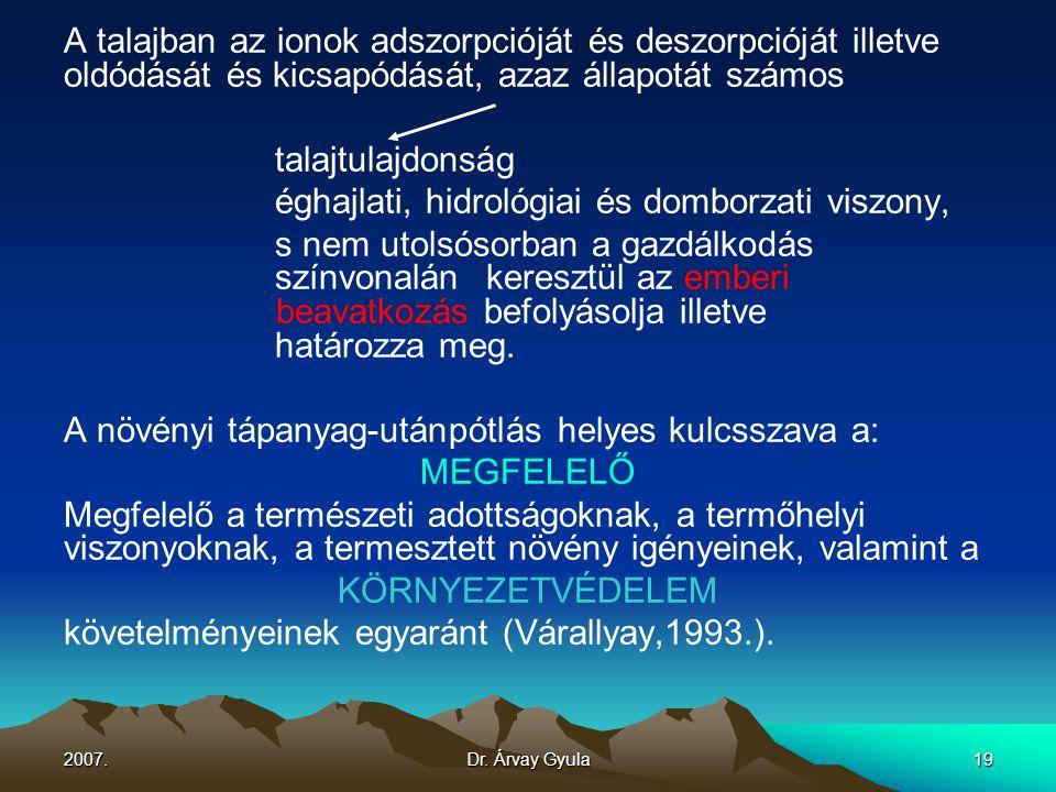 2007.Dr. Árvay Gyula19 A talajban az ionok adszorpcióját és deszorpcióját illetve oldódását és kicsapódását, azaz állapotát számos talajtulajdonság ég