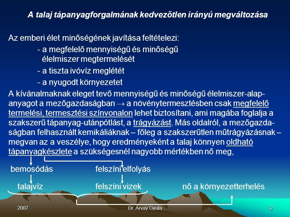 2007.Dr. Árvay Gyula2 A talaj tápanyagforgalmának kedvezőtlen irányú megváltozása Az emberi élet minőségének javítása feltételezi: - a megfelelő menny