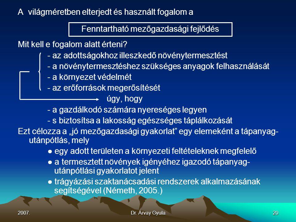2007.Dr. Árvay Gyula20 A világméretben elterjedt és használt fogalom a Mit kell e fogalom alatt érteni? - az adottságokhoz illeszkedő növénytermesztés