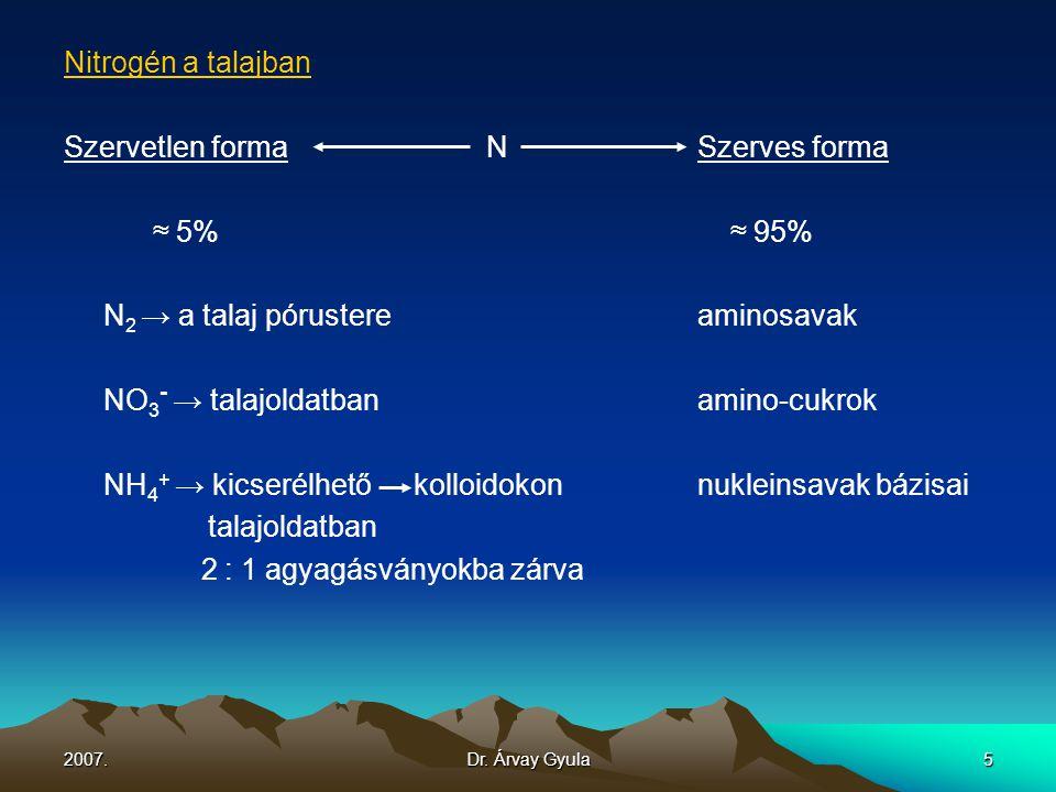 2007.Dr. Árvay Gyula5 Nitrogén a talajban Szervetlen formaNSzerves forma ≈ 5% ≈ 95% N 2 → a talaj pórustereaminosavak NO 3 - → talajoldatbanamino-cukr