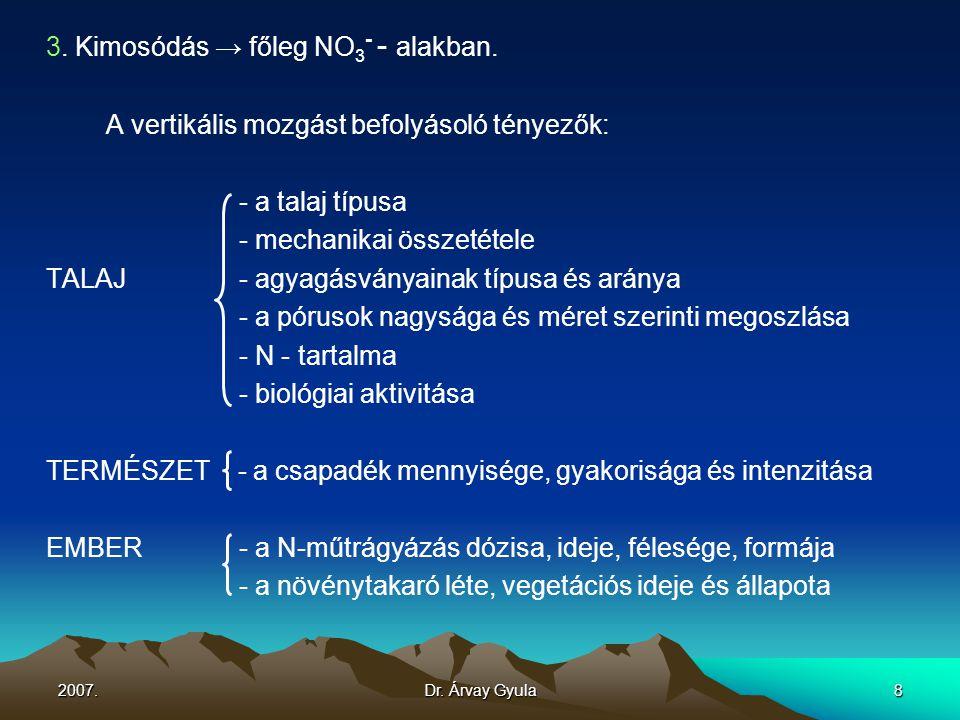 2007.Dr. Árvay Gyula8 3. Kimosódás → főleg NO 3 - - alakban. A vertikális mozgást befolyásoló tényezők: - a talaj típusa - mechanikai összetétele TALA