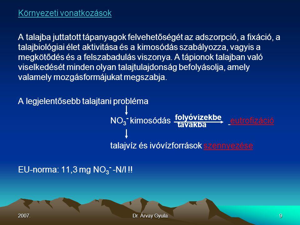 2007.Dr. Árvay Gyula9 Környezeti vonatkozások A talajba juttatott tápanyagok felvehetőségét az adszorpció, a fixáció, a talajbiológiai élet aktivitása