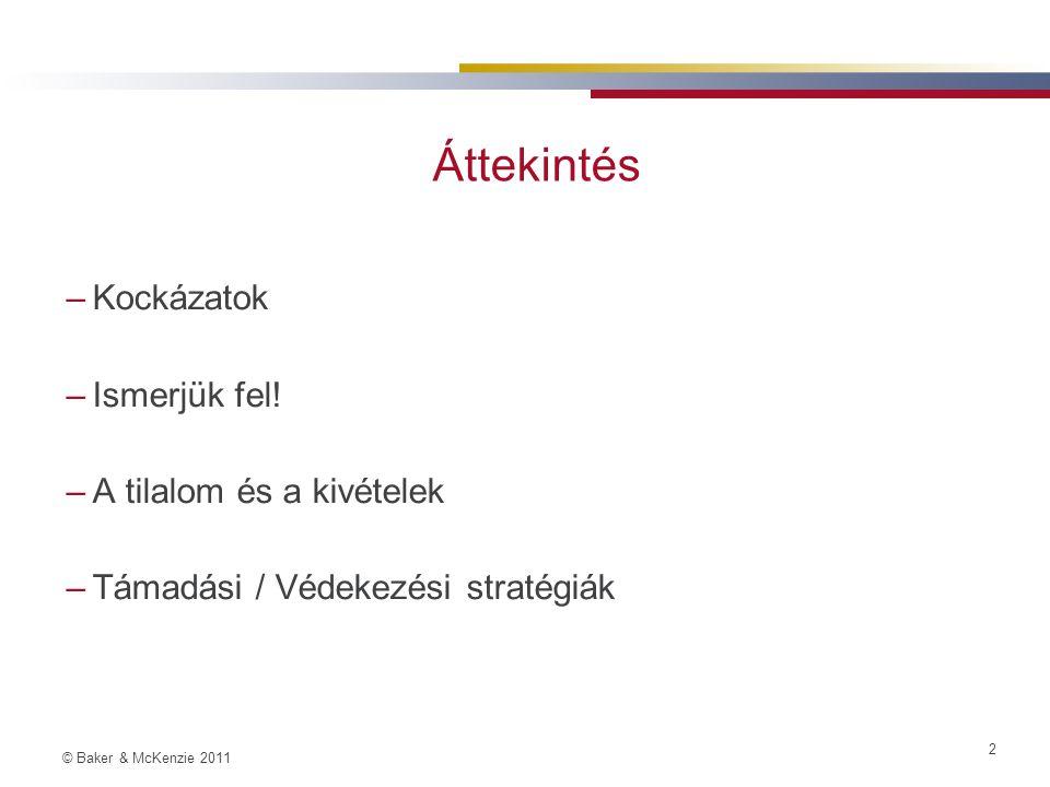 © Baker & McKenzie 2011 3 Kockázatok Miért fontos figyelni az állami támogatás kérdésére.