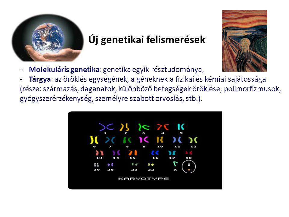 Új genetikai felismerések -Molekuláris genetika: genetika egyik résztudománya, -Tárgya: az öröklés egységének, a géneknek a fizikai és kémiai sajátossága (része: származás, daganatok, különböző betegségek öröklése, polimorfizmusok, gyógyszerérzékenység, személyre szabott orvoslás, stb.).