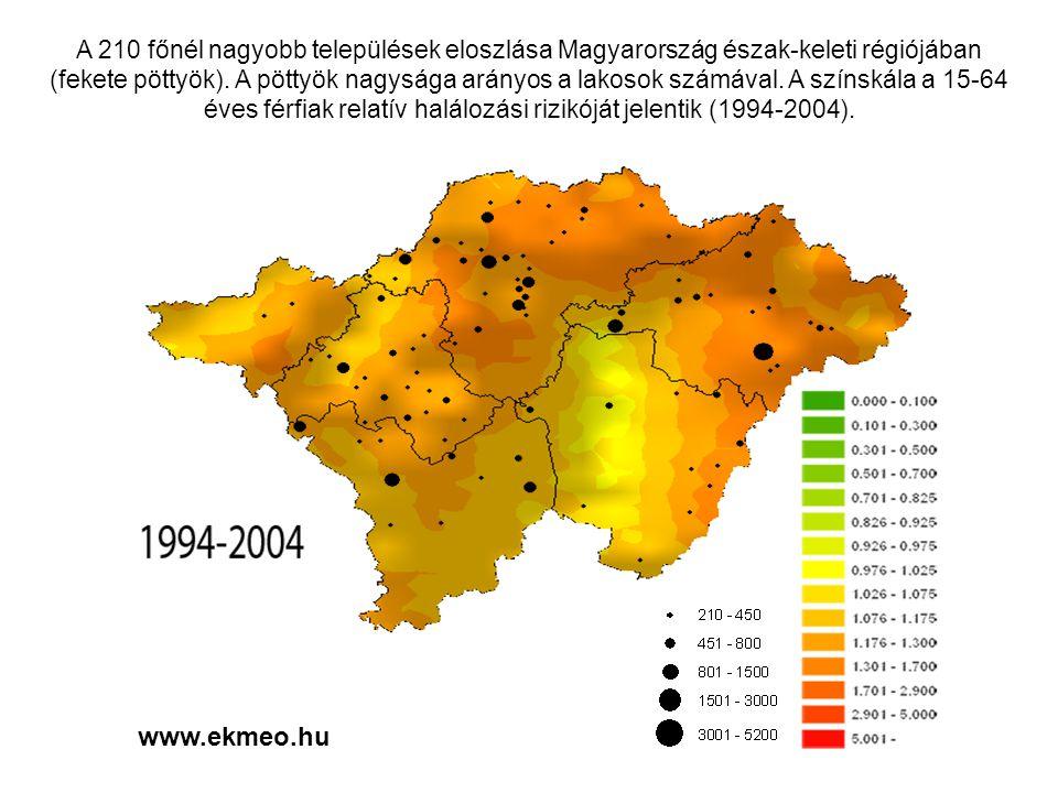 www.ekmeo.hu A 210 főnél nagyobb települések eloszlása Magyarország észak-keleti régiójában (fekete pöttyök).