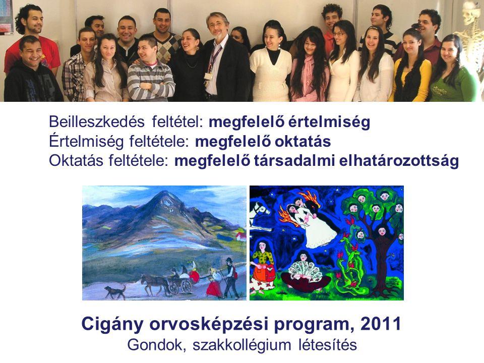 Cigány orvosképzési program, 2011 Gondok, szakkollégium létesítés Beilleszkedés feltétel: megfelelő értelmiség Értelmiség feltétele: megfelelő oktatás Oktatás feltétele: megfelelő társadalmi elhatározottság