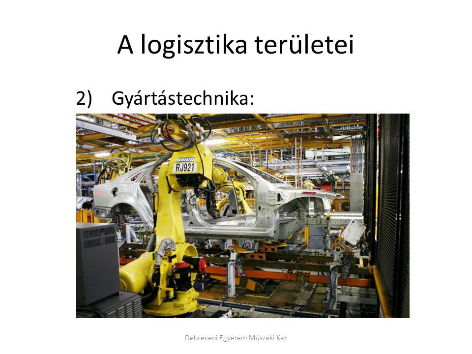 A logisztika területei 2) Gyártástechnika: Debreceni Egyetem Műszaki Kar