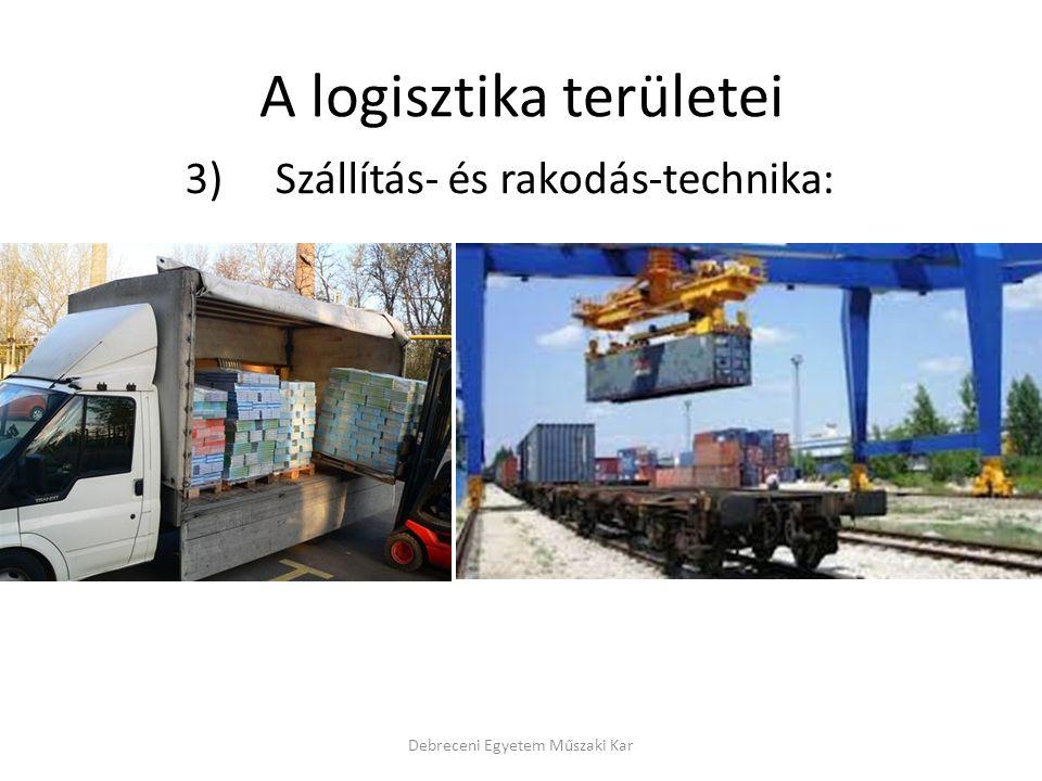A logisztika területei 3) Szállítás- és rakodás-technika: Debreceni Egyetem Műszaki Kar
