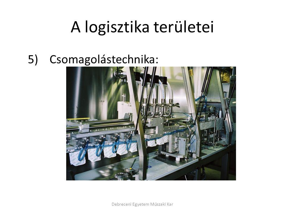 A logisztika területei 5) Csomagolástechnika: Debreceni Egyetem Műszaki Kar