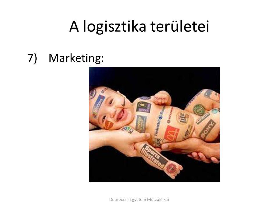 A logisztika területei 7) Marketing: Debreceni Egyetem Műszaki Kar