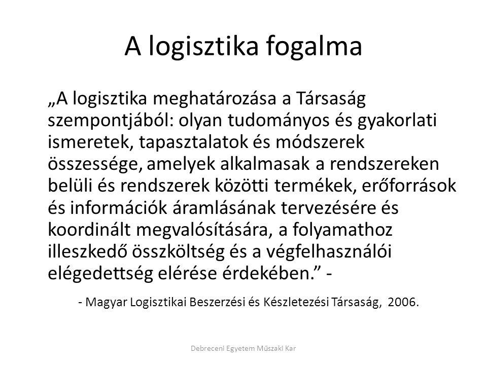 """A logisztika fogalma """"A logisztika meghatározása a Társaság szempontjából: olyan tudományos és gyakorlati ismeretek, tapasztalatok és módszerek összes"""
