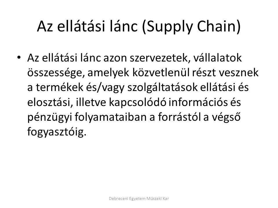 Az ellátási lánc (Supply Chain) Az ellátási lánc azon szervezetek, vállalatok összessége, amelyek közvetlenül részt vesznek a termékek és/vagy szolgál
