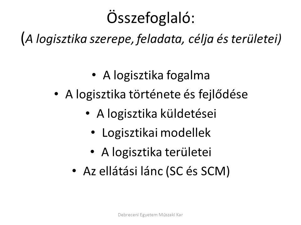 Összefoglaló: ( A logisztika szerepe, feladata, célja és területei) A logisztika fogalma A logisztika története és fejlődése A logisztika küldetései L