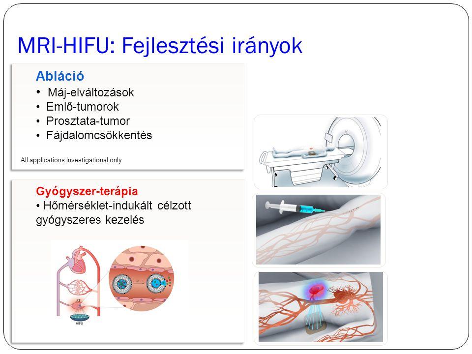 Gyógyszer-terápia Hőmérséklet-indukált célzott gyógyszeres kezelés Gyógyszer-terápia Hőmérséklet-indukált célzott gyógyszeres kezelés Abláció Máj-elváltozások Emlő-tumorok Prosztata-tumor Fájdalomcsökkentés Abláció Máj-elváltozások Emlő-tumorok Prosztata-tumor Fájdalomcsökkentés MRI-HIFU: Fejlesztési irányok treated tissue Residual cancer cells at border zone.