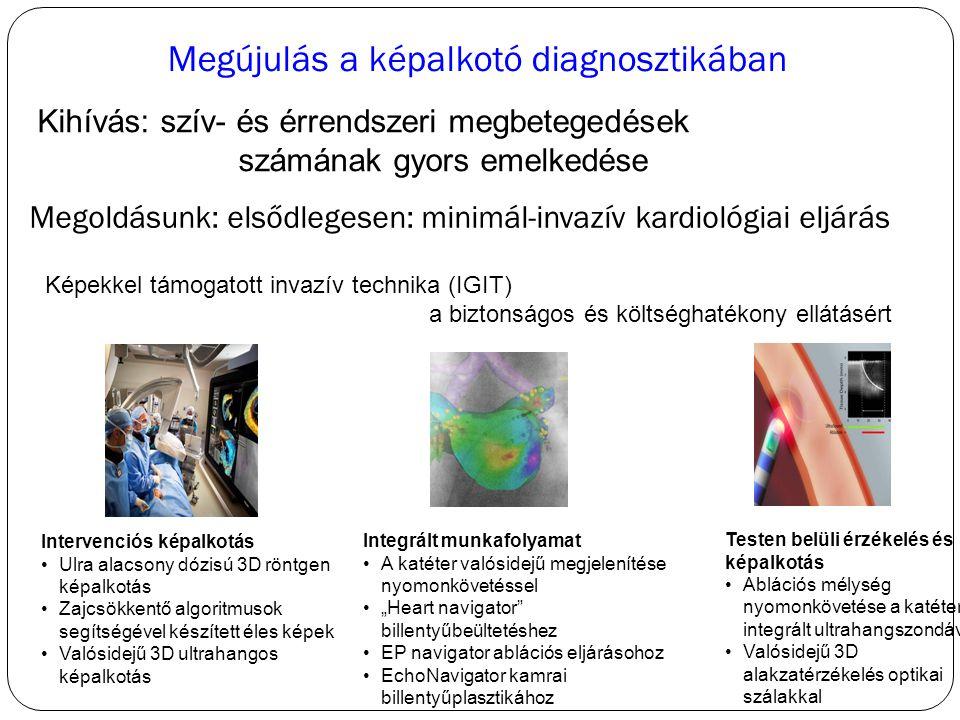 """Megújulás a képalkotó diagnosztikában Kihívás: szív- és érrendszeri megbetegedések számának gyors emelkedése Intervenciós képalkotás Ulra alacsony dózisú 3D röntgen képalkotás Zajcsökkentő algoritmusok segítségével készített éles képek Valósidejű 3D ultrahangos képalkotás Integrált munkafolyamat A katéter valósidejű megjelenítése nyomonkövetéssel """"Heart navigator billentyűbeültetéshez EP navigator ablációs eljárásohoz EchoNavigator kamrai billentyűplasztikához Testen belüli érzékelés és képalkotás Ablációs mélység nyomonkövetése a katéterbe integrált ultrahangszondával Valósidejű 3D alakzatérzékelés optikai szálakkal Megoldásunk: elsődlegesen: minimál-invazív kardiológiai eljárás Képekkel támogatott invazív technika (IGIT) a biztonságos és költséghatékony ellátásért"""
