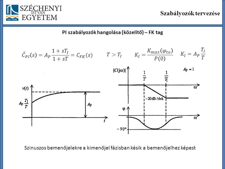 Szabályozók tervezése PI szabályozók hangolása (közelítő) – FK tag Szinuszos bemenőjelekre a kimenőjel fázisban késik a bemenőjelhez képest