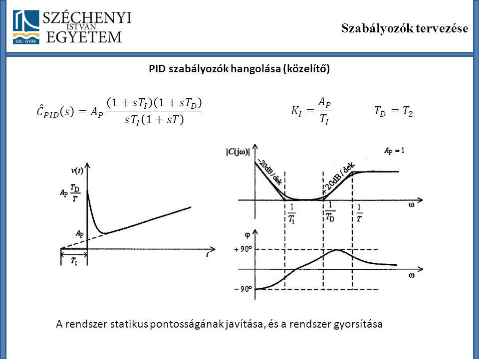 Szabályozók tervezése PID szabályozók hangolása (közelítő) A rendszer statikus pontosságának javítása, és a rendszer gyorsítása