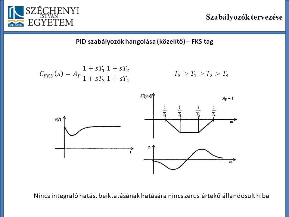 Szabályozók tervezése PID szabályozók hangolása (közelítő) – FKS tag Nincs integráló hatás, beiktatásának hatására nincs zérus értékű állandósult hiba
