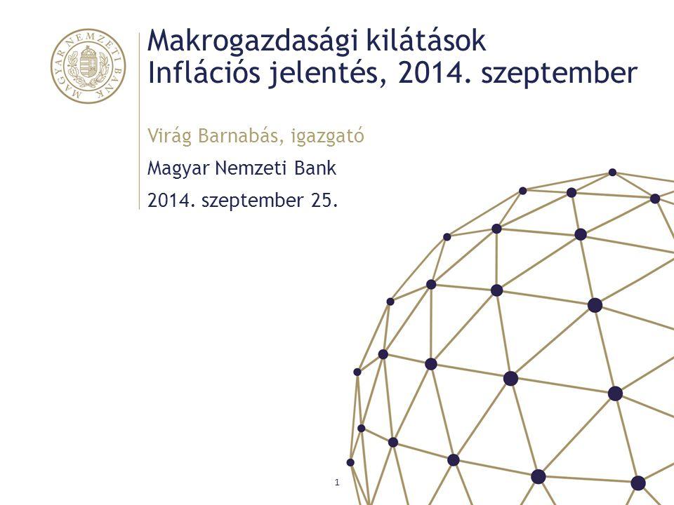 Makrogazdasági kilátások Inflációs jelentés, 2014. szeptember Magyar Nemzeti Bank Virág Barnabás, igazgató 1 2014. szeptember 25.