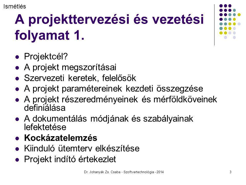A projekttervezési és vezetési folyamat 1. Projektcél? A projekt megszorításai Szervezeti keretek, felelősök A projekt paramétereinek kezdeti összegzé