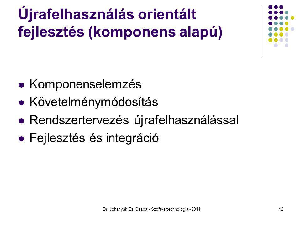 Dr. Johanyák Zs. Csaba - Szoftvertechnológia - 2014 Újrafelhasználás orientált fejlesztés (komponens alapú) Komponenselemzés Követelménymódosítás Rend
