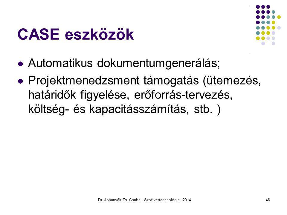Dr. Johanyák Zs. Csaba - Szoftvertechnológia - 2014 CASE eszközök Automatikus dokumentumgenerálás; Projektmenedzsment támogatás (ütemezés, határidők f