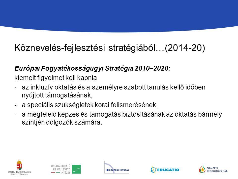 Köznevelés-fejlesztési stratégiából…(2014-20) Európai Fogyatékosságügyi Stratégia 2010–2020: kiemelt figyelmet kell kapnia -az inkluzív oktatás és a személyre szabott tanulás kellő időben nyújtott támogatásának, -a speciális szükségletek korai felismerésének, -a megfelelő képzés és támogatás biztosításának az oktatás bármely szintjén dolgozók számára.