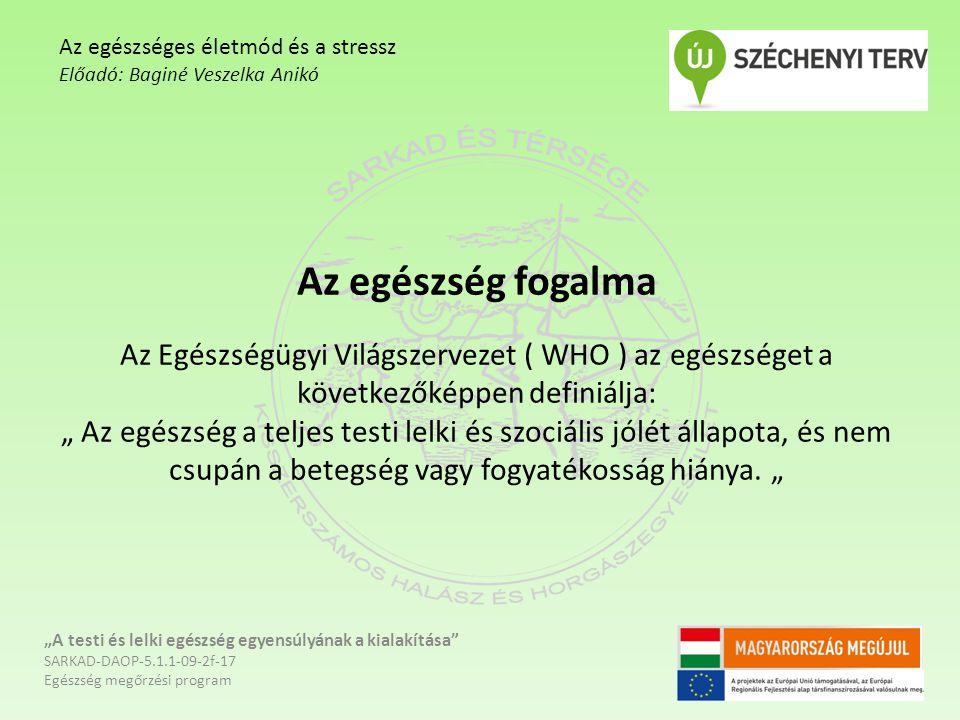 """Stresszoldó élelmiszerek - Csonthéjas gyümölcsök - Halak - Étcsokoládé - Tejtermékek - Avokádó - Leveszöldségek - Áfonya - Citromfű - Zöldtea """"A testi és lelki egészség egyensúlyának a kialakítása SARKAD-DAOP-5.1.1-09-2f-17 Egészség megőrzési program Az egészséges életmód és a stressz Előadó: Baginé Veszelka Anikó"""