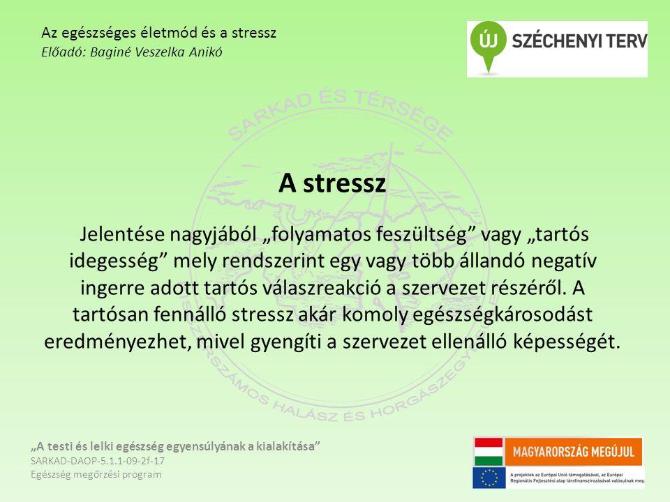 """Tünetek - állandó idegeskedés, - türelmetlenség, - fogékonyság a betegségekre - gyakori felső légúti panaszok - hajhullás """"A testi és lelki egészség egyensúlyának a kialakítása SARKAD-DAOP-5.1.1-09-2f-17 Egészség megőrzési program Az egészséges életmód és a stressz Előadó: Baginé Veszelka Anikó"""