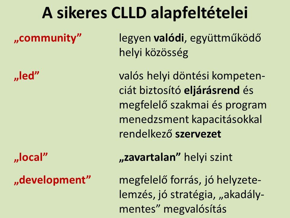 """A sikeres CLLD alapfeltételei """"community""""legyen valódi, együttműködő helyi közösség """"led""""valós helyi döntési kompeten- ciát biztosító eljárásrend és m"""