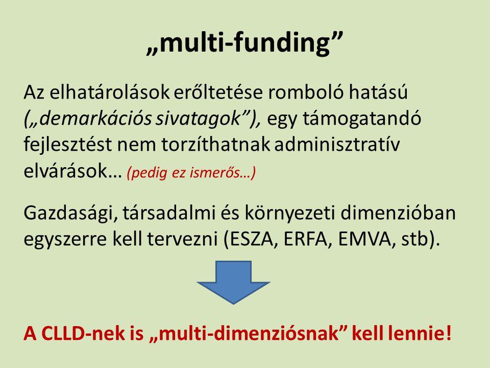 """""""multi-funding"""" Az elhatárolások erőltetése romboló hatású (""""demarkációs sivatagok""""), egy támogatandó fejlesztést nem torzíthatnak adminisztratív elvá"""