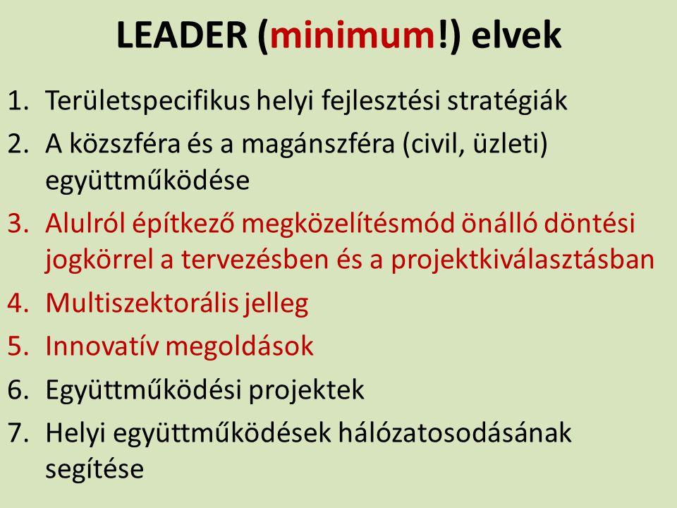 LEADER (minimum!) elvek 1.Területspecifikus helyi fejlesztési stratégiák 2.A közszféra és a magánszféra (civil, üzleti) együttműködése 3.Alulról építk
