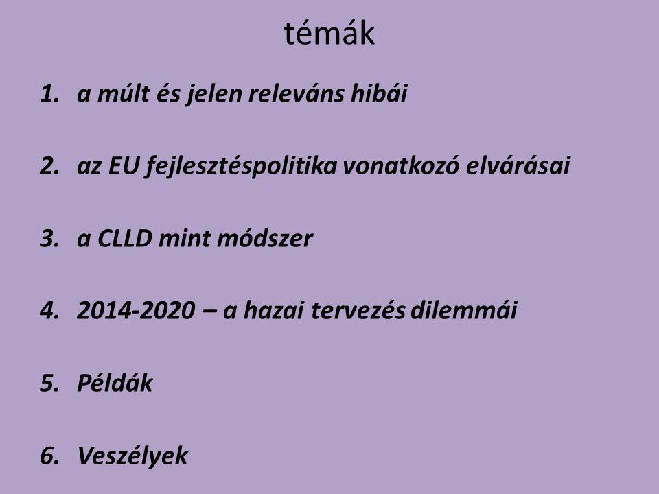 témák 1.a múlt és jelen releváns hibái 2.az EU fejlesztéspolitika vonatkozó elvárásai 3.a CLLD mint módszer 4.2014-2020 – a hazai tervezés dilemmái 5.