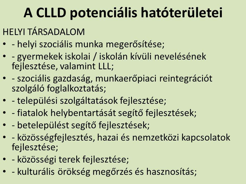 A CLLD potenciális hatóterületei HELYI TÁRSADALOM - helyi szociális munka megerősítése; - gyermekek iskolai / iskolán kívüli nevelésének fejlesztése,