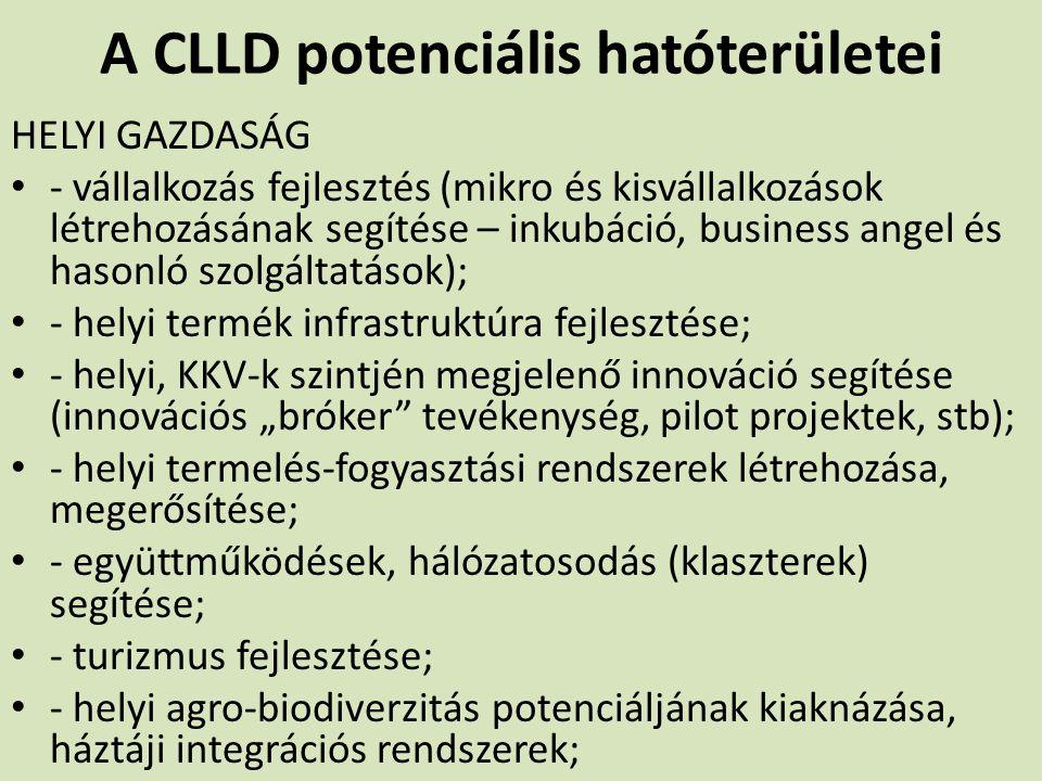 A CLLD potenciális hatóterületei HELYI GAZDASÁG - vállalkozás fejlesztés (mikro és kisvállalkozások létrehozásának segítése – inkubáció, business ange