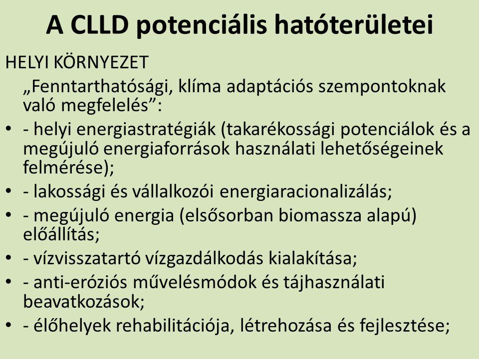 """A CLLD potenciális hatóterületei HELYI KÖRNYEZET """"Fenntarthatósági, klíma adaptációs szempontoknak való megfelelés"""": - helyi energiastratégiák (takaré"""