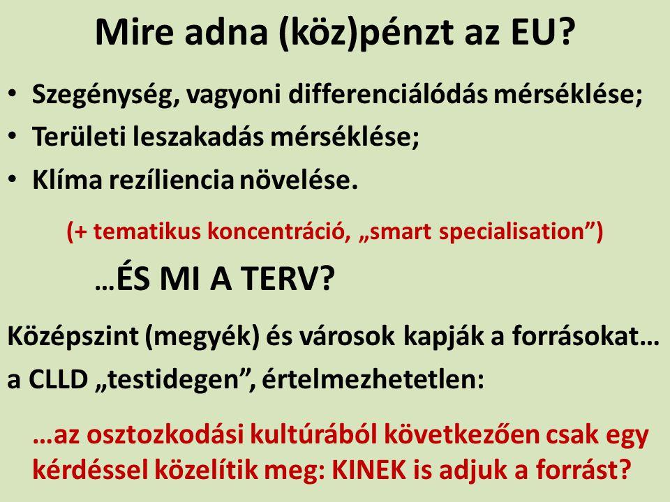 Mire adna (köz)pénzt az EU? Szegénység, vagyoni differenciálódás mérséklése; Területi leszakadás mérséklése; Klíma rezíliencia növelése. (+ tematikus