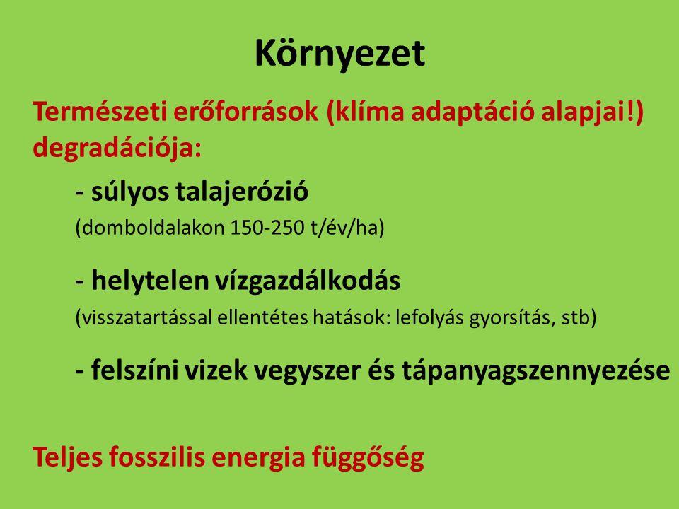 Környezet Természeti erőforrások (klíma adaptáció alapjai!) degradációja: - súlyos talajerózió (domboldalakon 150-250 t/év/ha) - helytelen vízgazdálko
