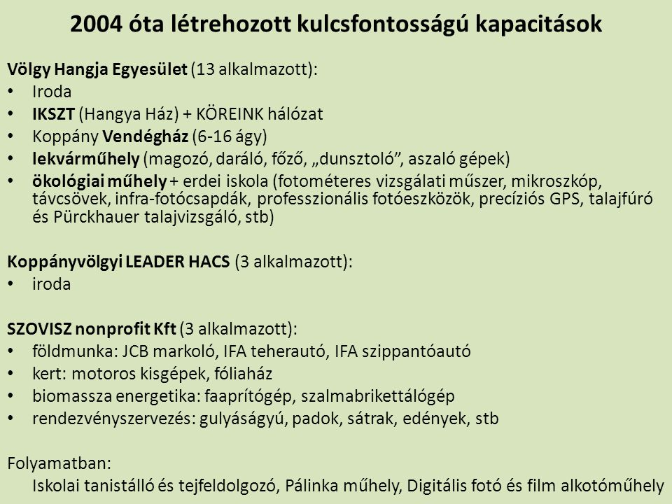 2004 óta létrehozott kulcsfontosságú kapacitások Völgy Hangja Egyesület (13 alkalmazott): Iroda IKSZT (Hangya Ház) + KÖREINK hálózat Koppány Vendégház
