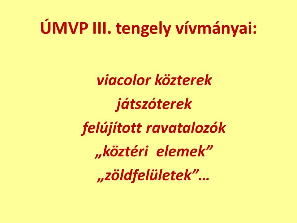 """ÚMVP III. tengely vívmányai: viacolor közterek játszóterek felújított ravatalozók """"köztéri elemek"""" """"zöldfelületek""""…"""