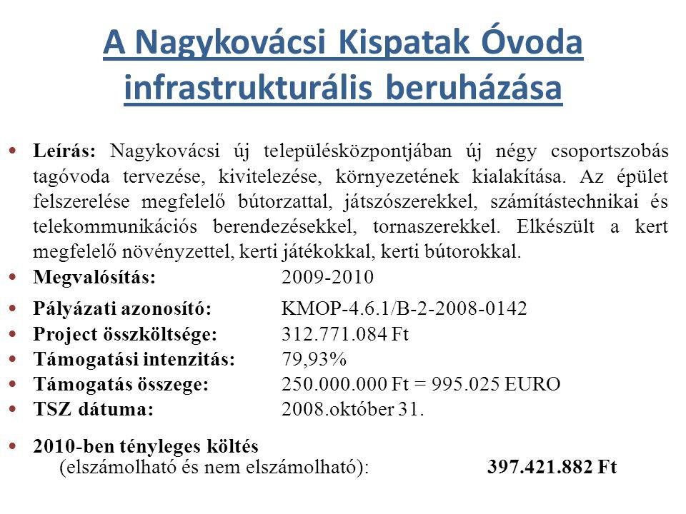 A Nagykovácsi Kispatak Óvoda infrastrukturális beruházása Leírás: Nagykovácsi új településközpontjában új négy csoportszobás tagóvoda tervezése, kivit