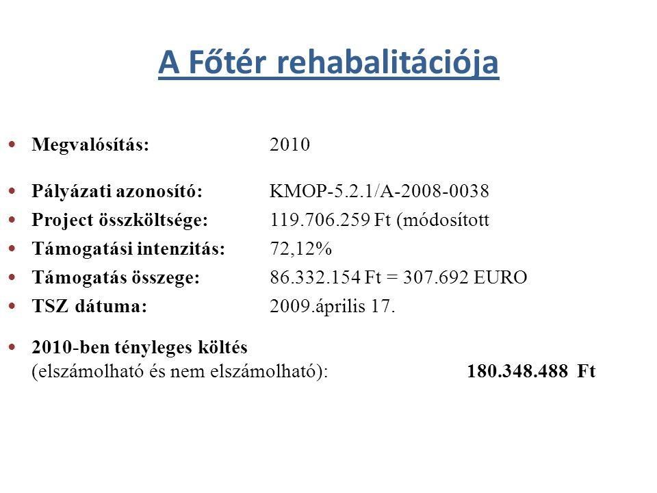 Megvalósítás: 2010 Pályázati azonosító: KMOP-5.2.1/A-2008-0038 Project összköltsége:119.706.259 Ft (módosított Támogatási intenzitás: 72,12% Támogatás