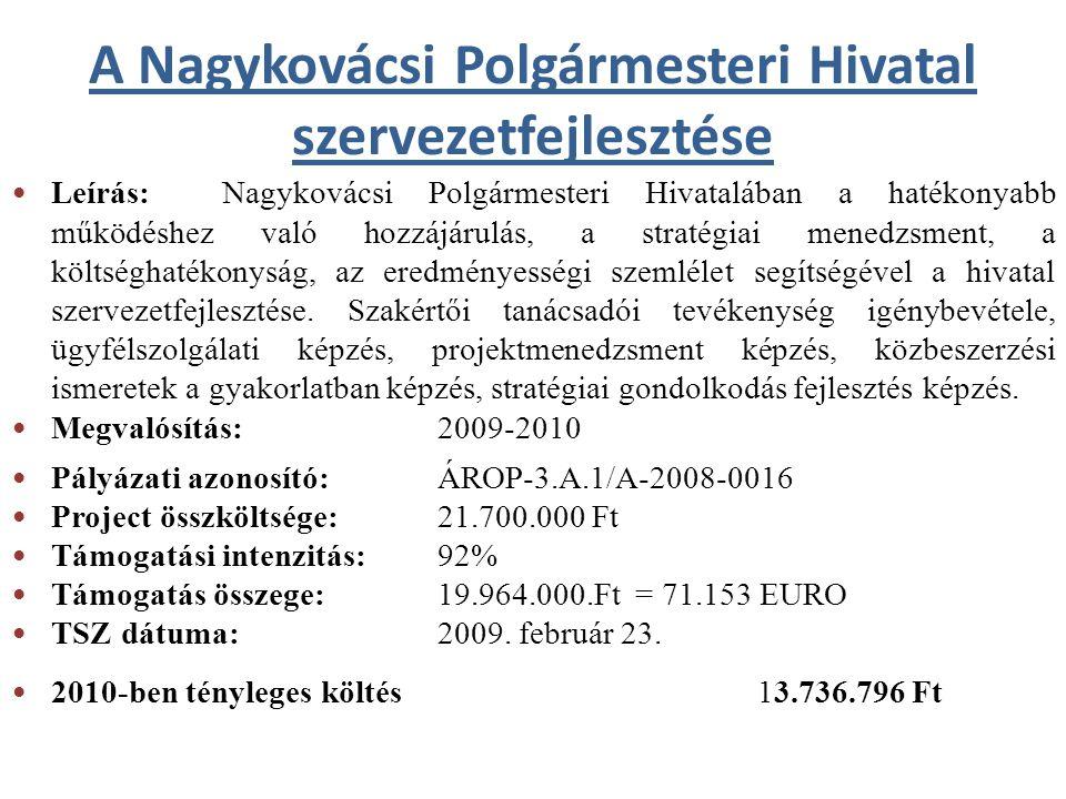 A Nagykovácsi Polgármesteri Hivatal szervezetfejlesztése Leírás: Nagykovácsi Polgármesteri Hivatalában a hatékonyabb működéshez való hozzájárulás, a s