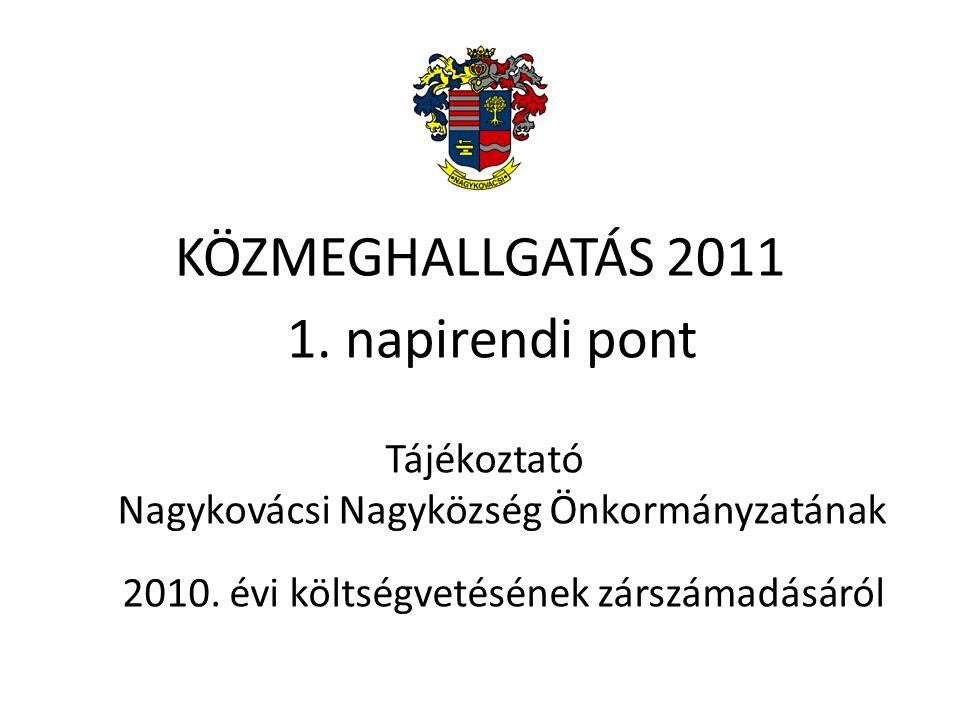 1. napirendi pont Tájékoztató Nagykovácsi Nagyközség Önkormányzatának 2010. évi költségvetésének zárszámadásáról KÖZMEGHALLGATÁS 2011