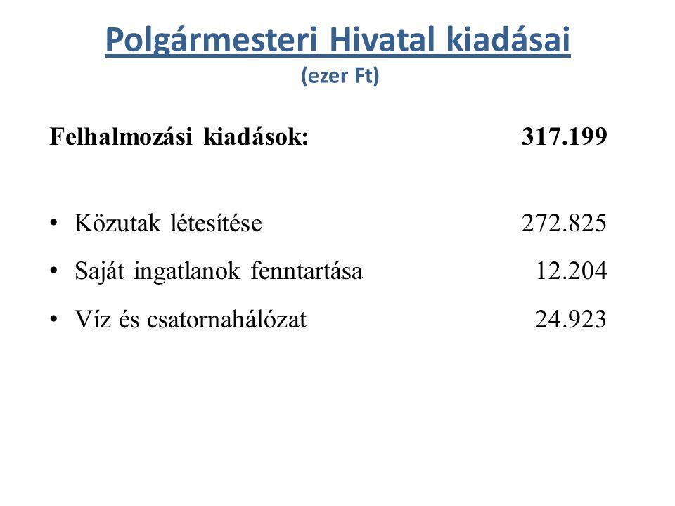 Polgármesteri Hivatal kiadásai (ezer Ft) Felhalmozási kiadások: 317.199 Közutak létesítése272.825 Saját ingatlanok fenntartása 12.204 Víz és csatornahálózat 24.923
