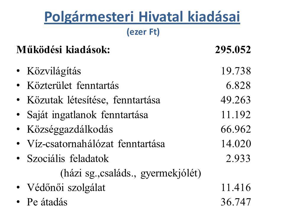 Polgármesteri Hivatal kiadásai (ezer Ft) Működési kiadások: 295.052 Közvilágítás 19.738 Közterület fenntartás 6.828 Közutak létesítése, fenntartása 49.263 Saját ingatlanok fenntartása 11.192 Községgazdálkodás 66.962 Víz-csatornahálózat fenntartása 14.020 Szociális feladatok 2.933 (házi sg.,családs., gyermekjólét) Védőnői szolgálat 11.416 Pe átadás 36.747